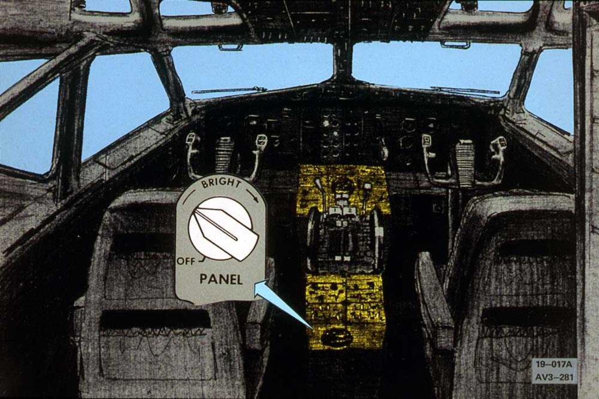 Tegning av cockpiten på et fly, Boeing 737-200. En bryter er forstørret.