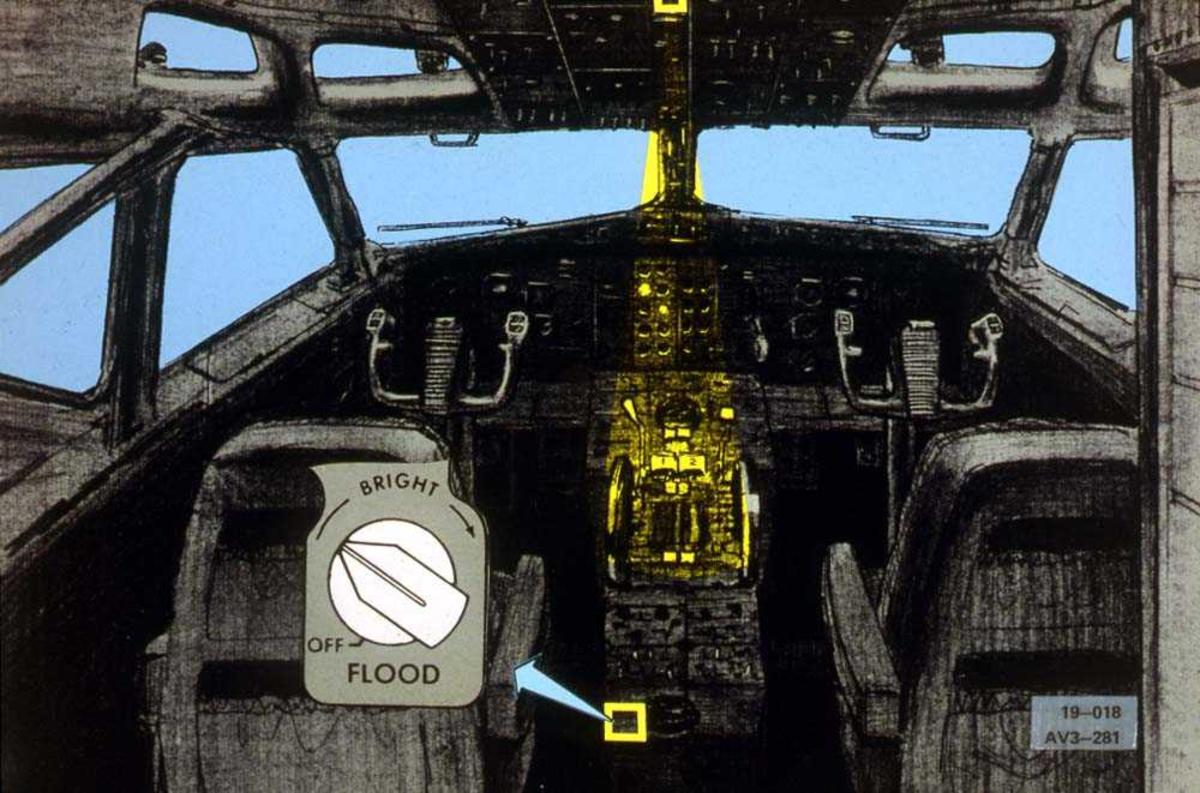 Tegning av cockpiten på ett fly, Boeing 737-200. En bryter er forstørret.