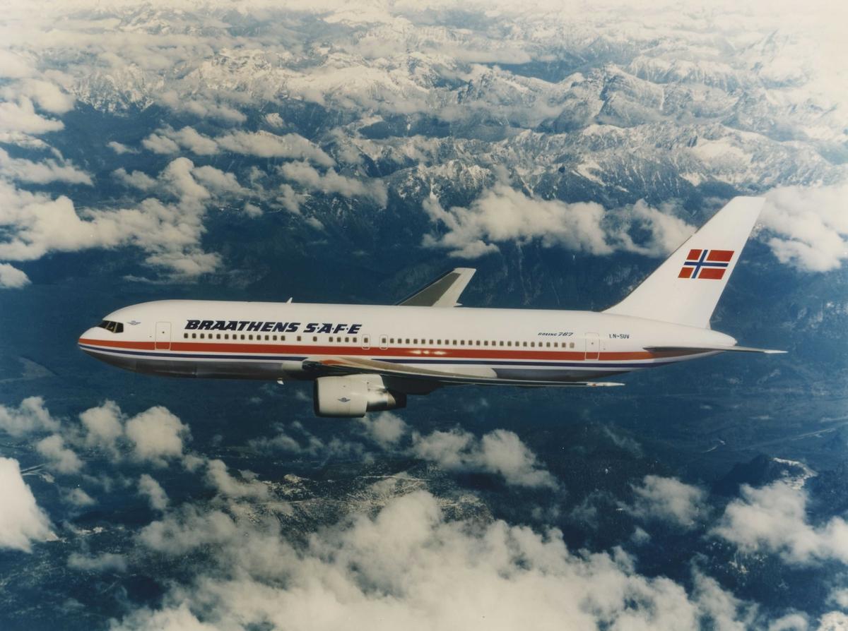 Ett fly i luften. Boeing 767. Braathens SAFE
