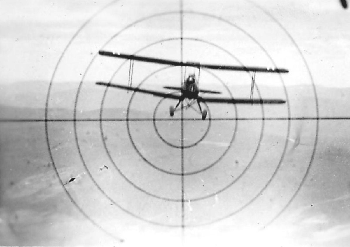 Luftfoto, ett fly i luften, sett gjennom våpensikte. Tiger Moth i sikte.