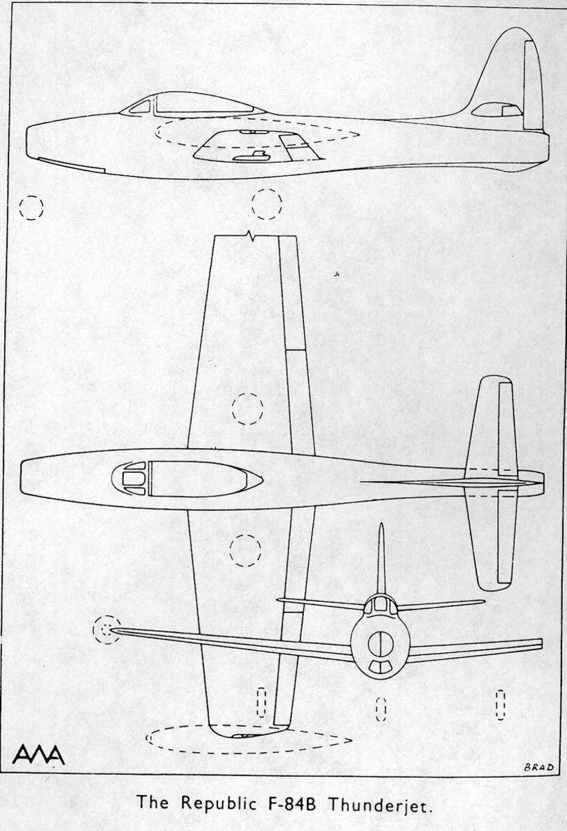 Treplanskisse, The Replublic F-84B Thunderjet.