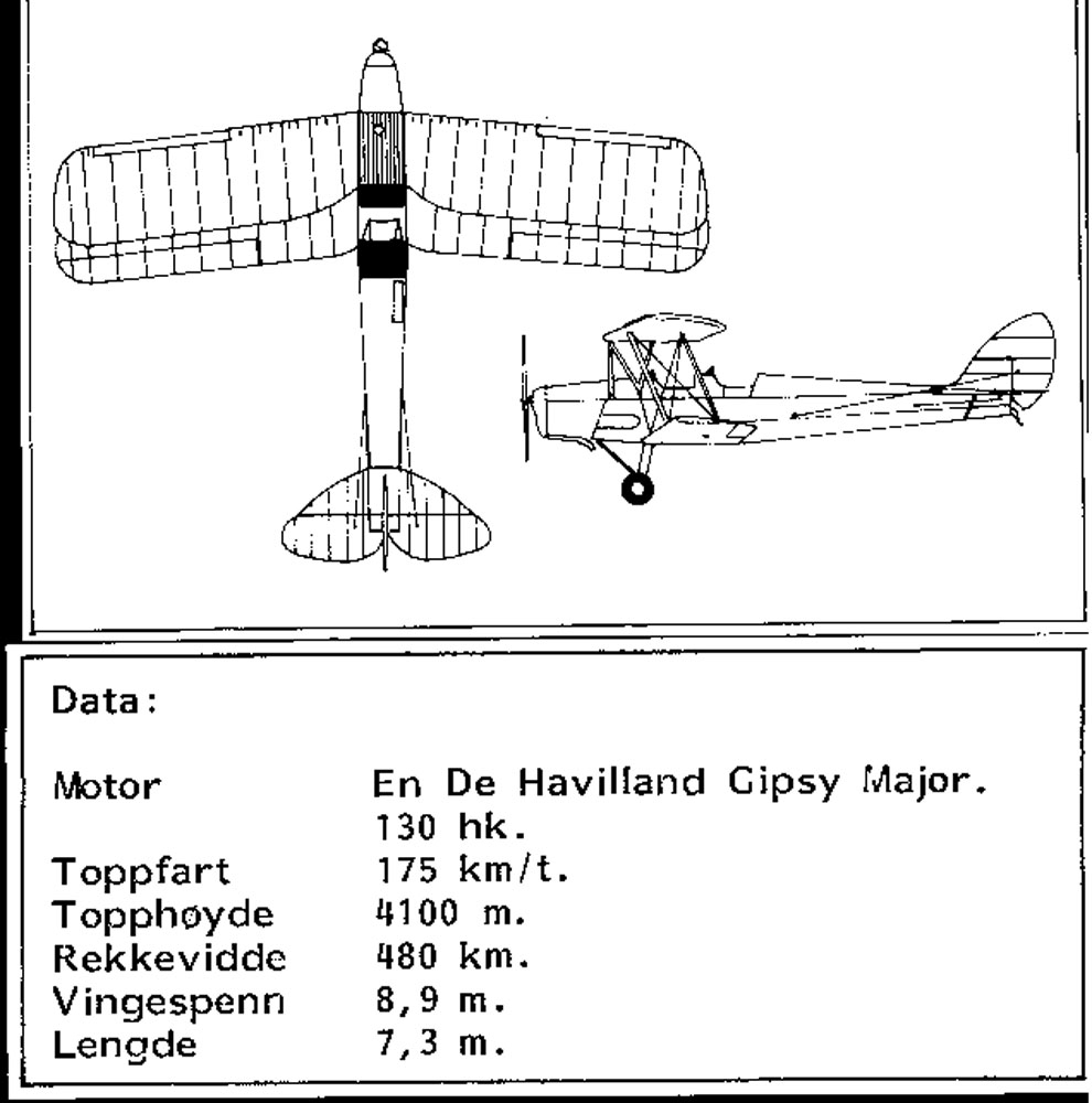 Treplanskisse, De Havilland DH-83 Tiger Moth.
