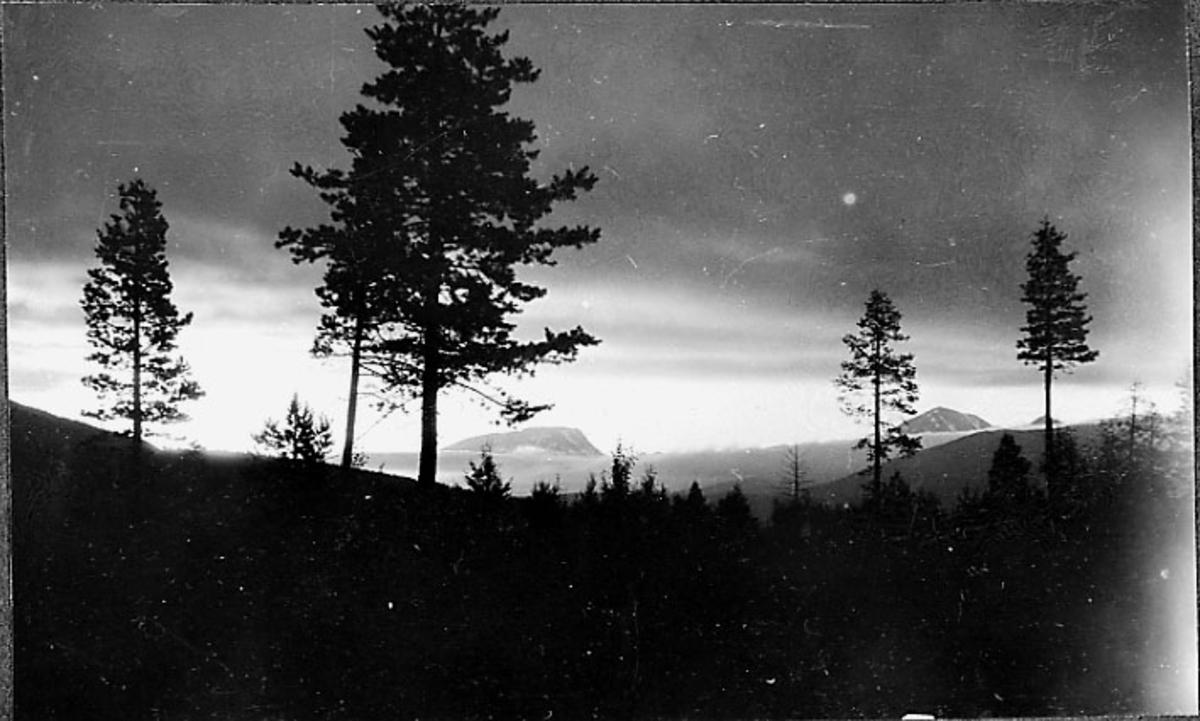 Landskapsbilde med midnattsol i horisonten bak.