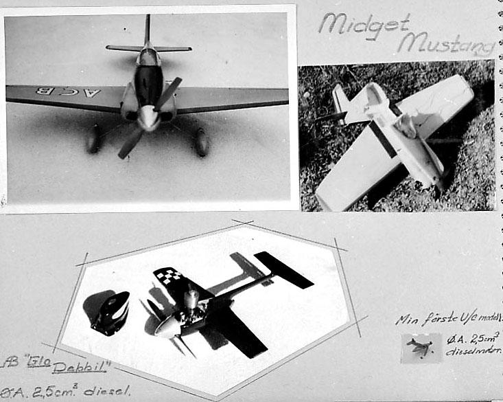 Fra album. 4 foto av modellfly på en benk e.l. 1 av flyene ligger krasjet på bakken.