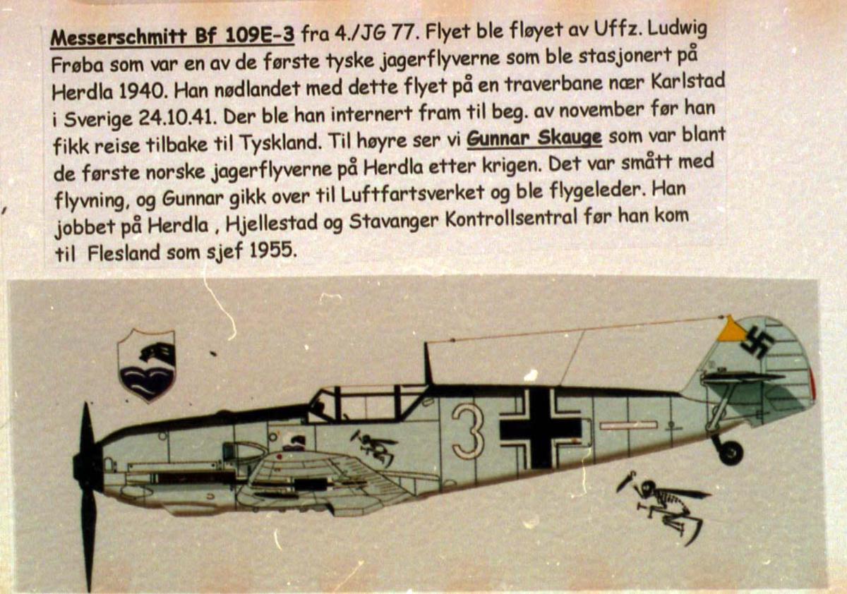 Tegning - skisse av 1 fly, Messerschmitt BF 109E-3