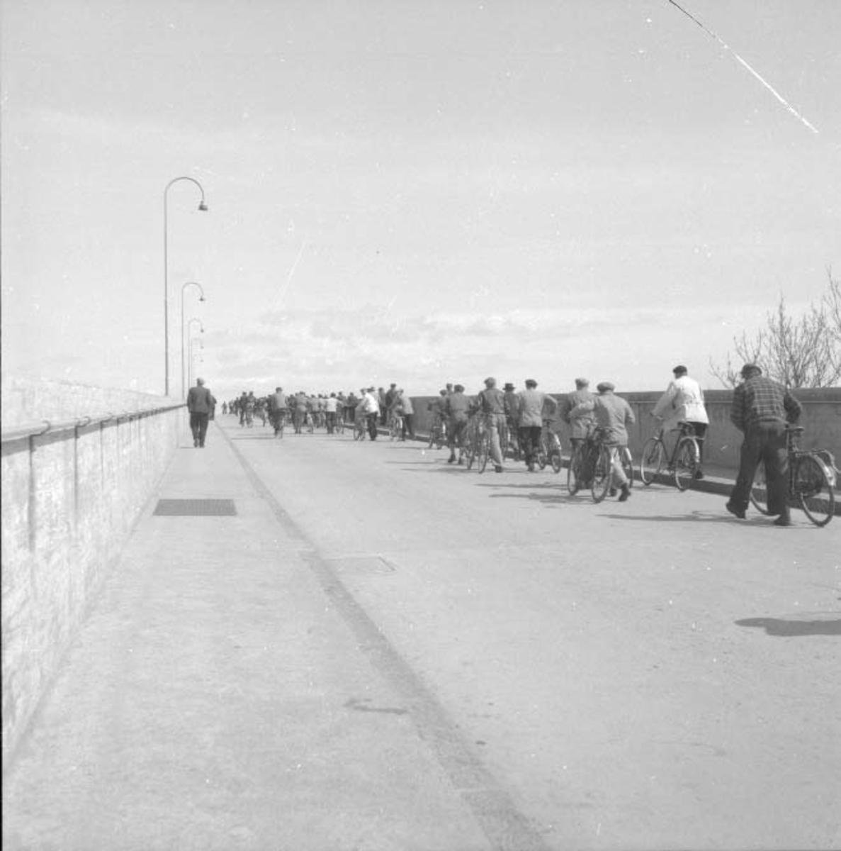 På vei til arbeid over Risøybroen.