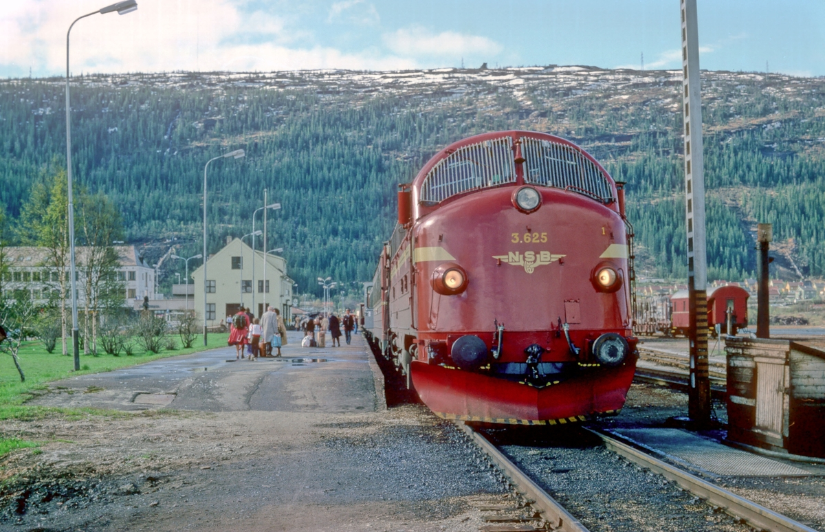 NSB daghurtigtog 451 Trondheim - Bodø i Mo i Rana, med dieselelektrisk lokomotiv Di 3 625. Til høyre diesel-pumpen, det ble her fylt på diesel når det var nødvendig.