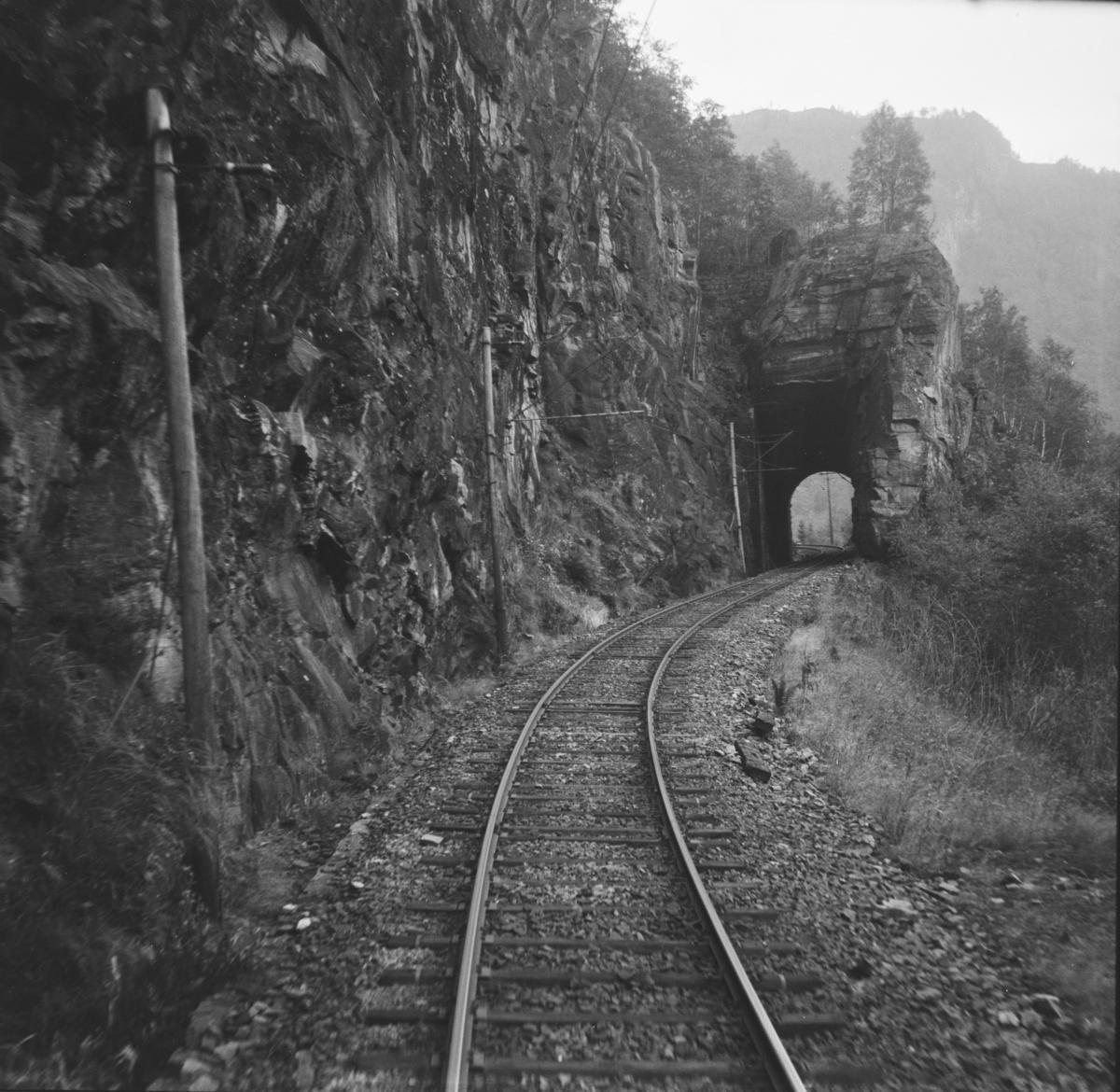 Fra Hardangerbana. Utsikt fra førerrommet på motorvogn type 64 idet toget kjører inn i en av tunnelene ved Skjervet.