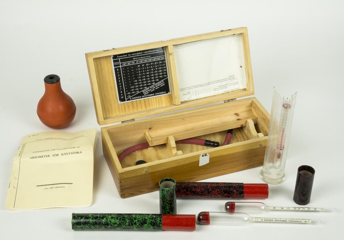Låda innehållande utrustning för mätning av fryspunkter ui vätskor (blandade). Materielen utgörs av 1 st. pipet med slang, 1 st. provrör (trasigt) med termometer, 1 st. provare Glykol-vatten, 1 st. provare rödsprit-vatten. Medföljer även föreskrifter för handhavande, 1952 års upplaga.