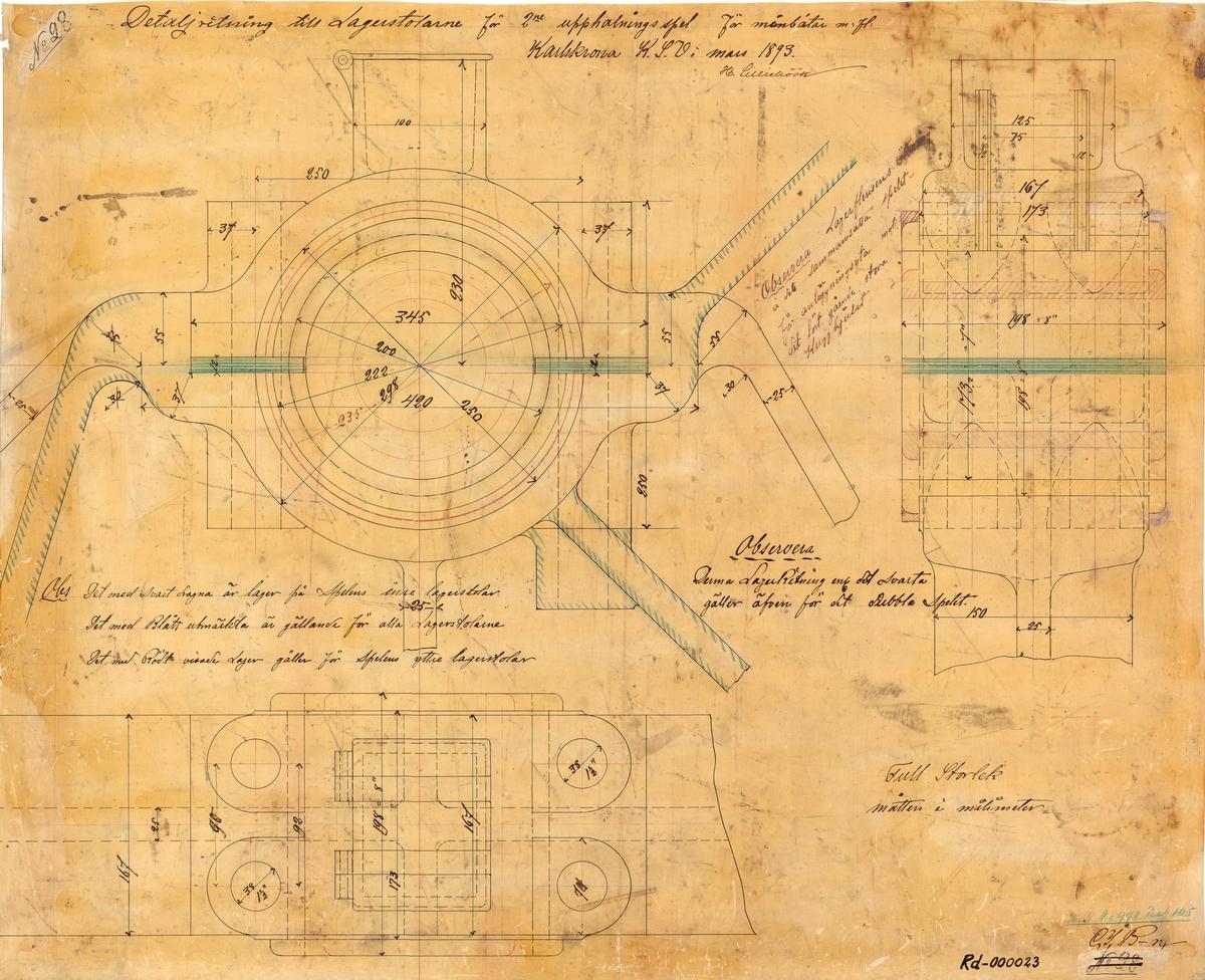 Detaljritning till lagerstolar för 2:e upphalningsspel för minbåtar m.fl.