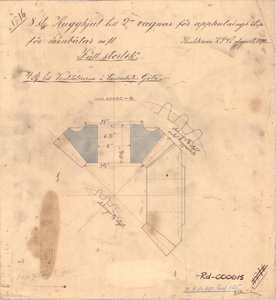 Detaljritning på 8 st kugghjul till 2:e vagnar för upphalningsslip för minbåtar m.fl. 4 st till ventilatorerna å pansarbåten Göta.