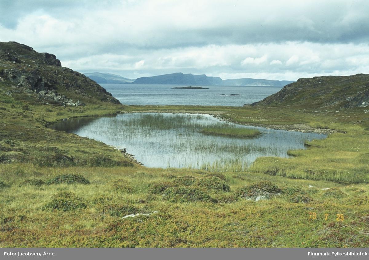Fra Fjordadalen i Rypefjord. Et lite vann med endel siv i midt på bildet. Gress og lyng på bakken i forkant og på sidene av vannet. To små fjellknauser på hver side i bildet danner en ramme rundt Sørøysundet. Rypklubbskjæret midt på bildet med Småskjæran til høyre foran det. Helt i bakgrunnen ses Sørøya med Skippernestinden og Høgnova rett ovenfor Rypklubbskjæret.