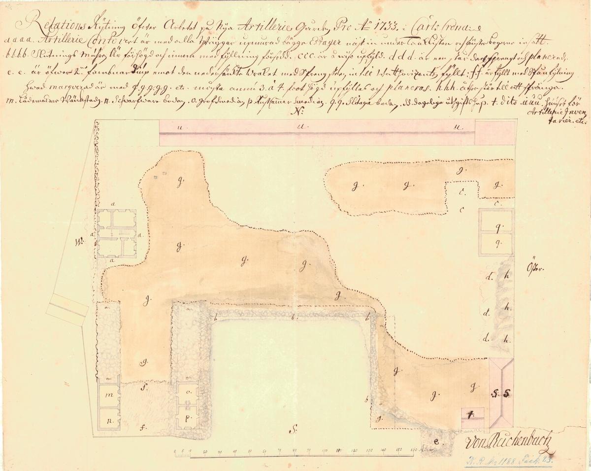 Relationsritning över arbetet på nya artillerigården pro anno 1733
