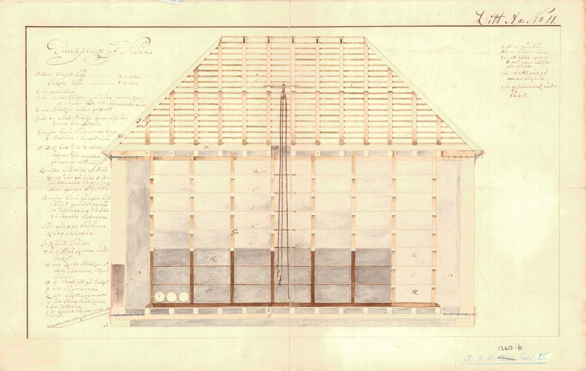 4 genomskärnings-, grund- och profilritningar på ett krutlogement. Förra delen av 1700-talet.
