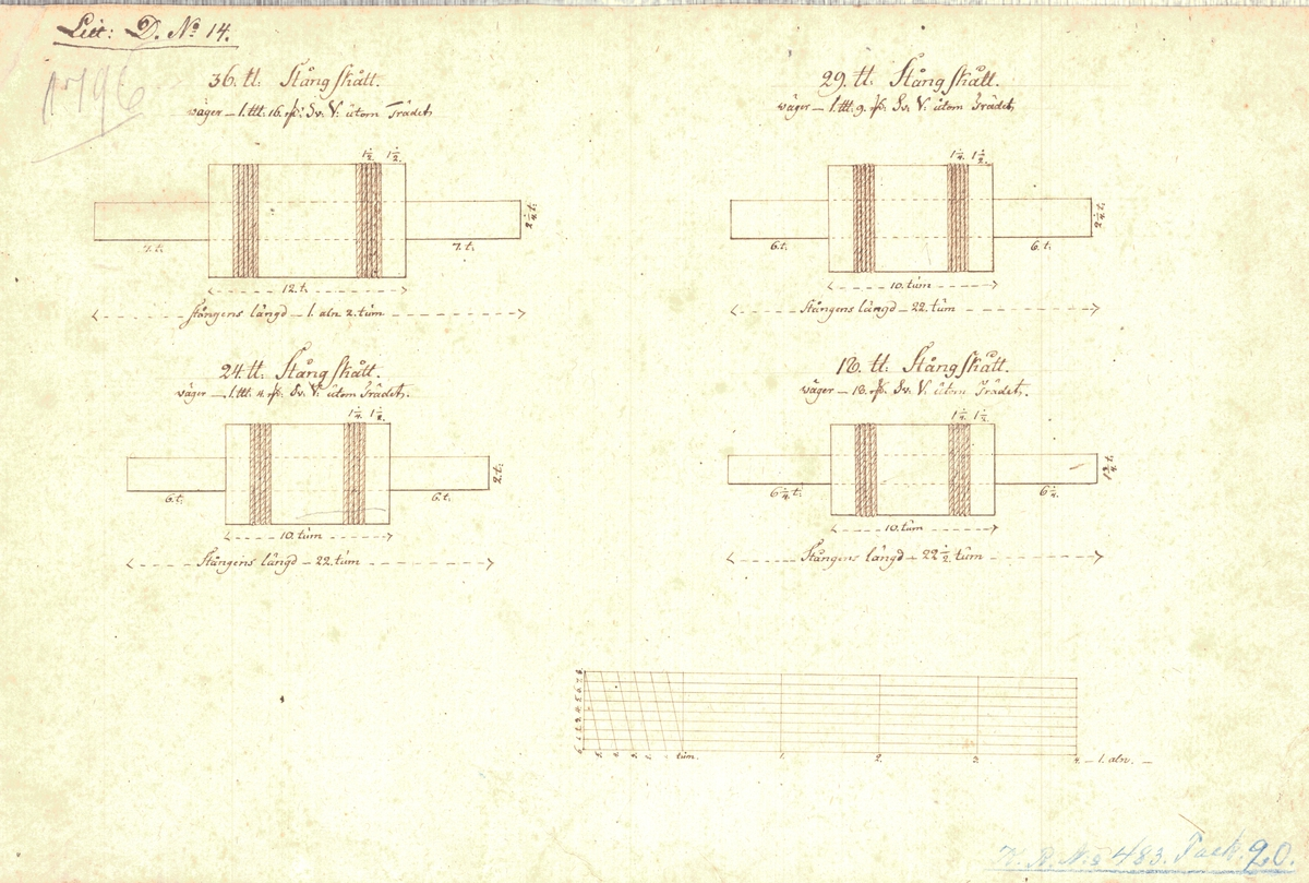 2 ritningar till 36, 29, 24 och 18 pundiga stångskott samt 29 pundig stångkula