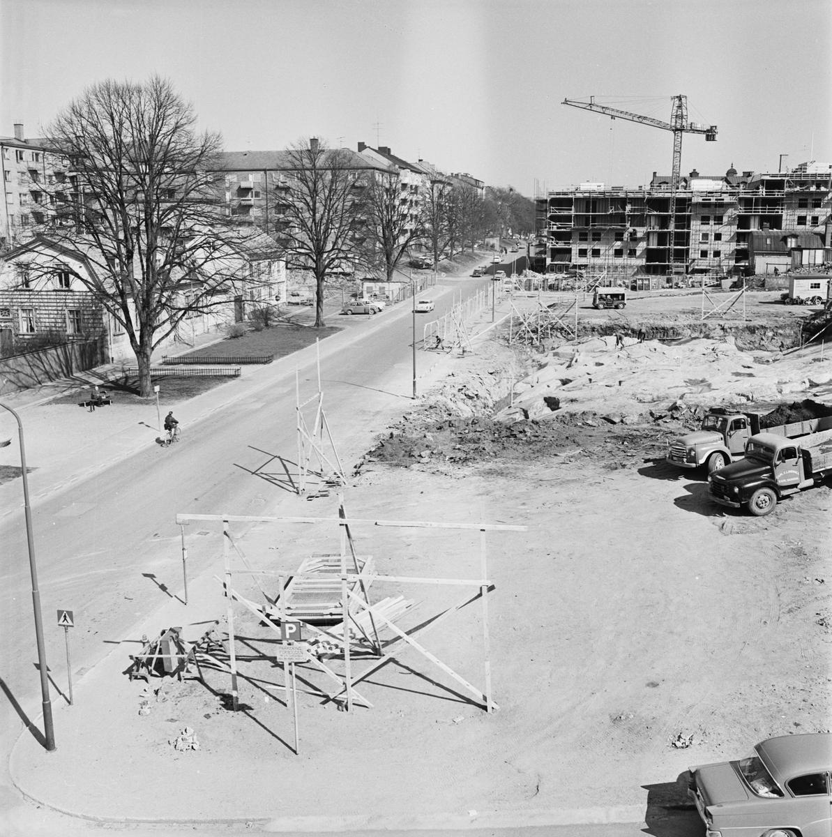 Övrigt: Foto datum: 4/5 1965 Byggnader och kranar Kvarteret Pollux