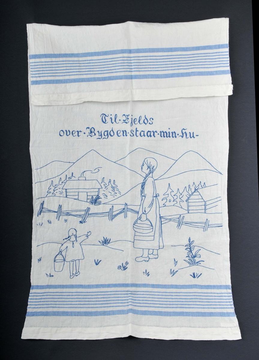 Setervold med budeie og barn.Støylshus og fjell i bakgrunnen.