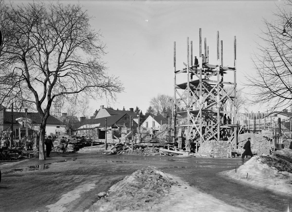 Flerbostadshus under byggnation, Börjegatan - Odensgatan, Uppsala 1945