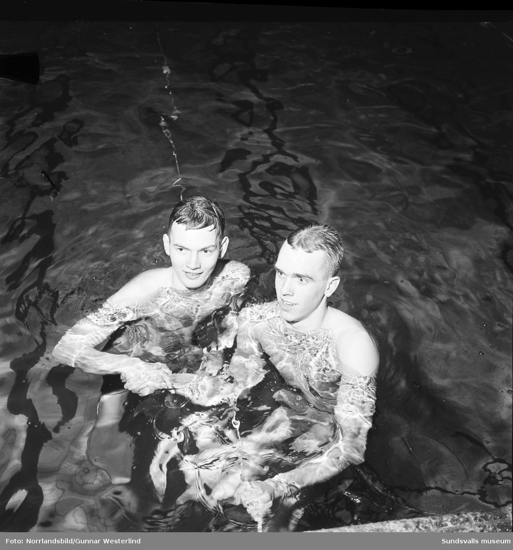 Simtävlingar i Timrå simhall. Två av simmarna skakar hand efter målgång.