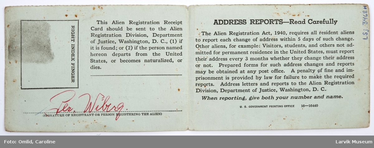Seaman Form. Alien Registration Receipt Card, USA.