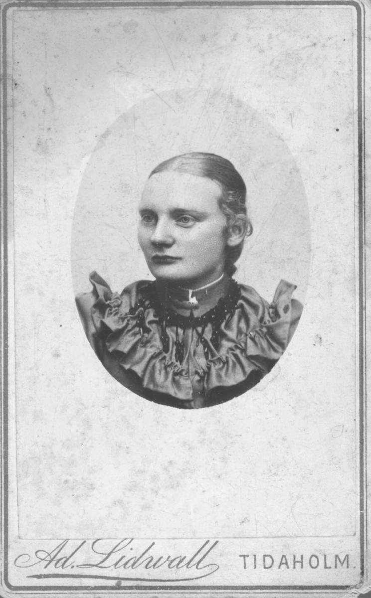 Et portrett av Lovise Malmgren.Hun har på seg en kjole og et perlesmykke rundt halsen.