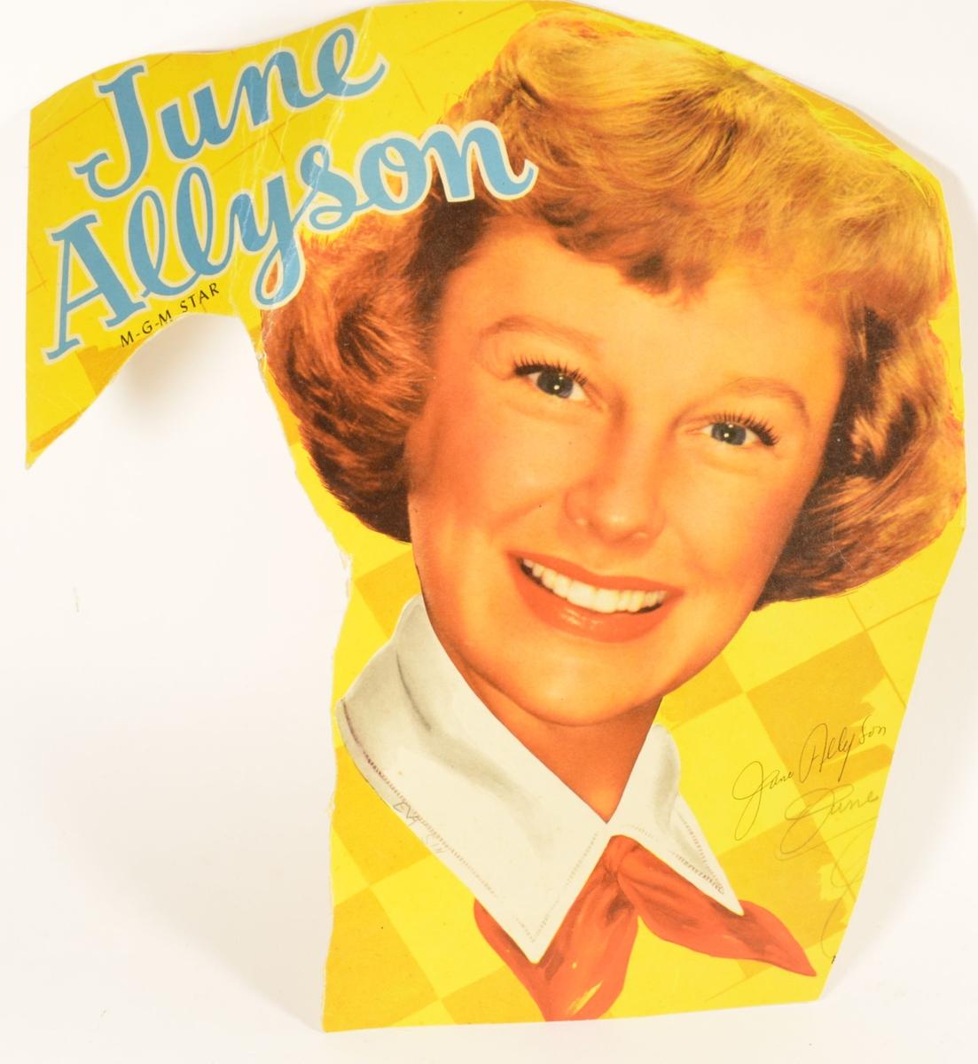 Stilisert, kolorert foto av filmstjerne June Allyson på gul bakgrunn.