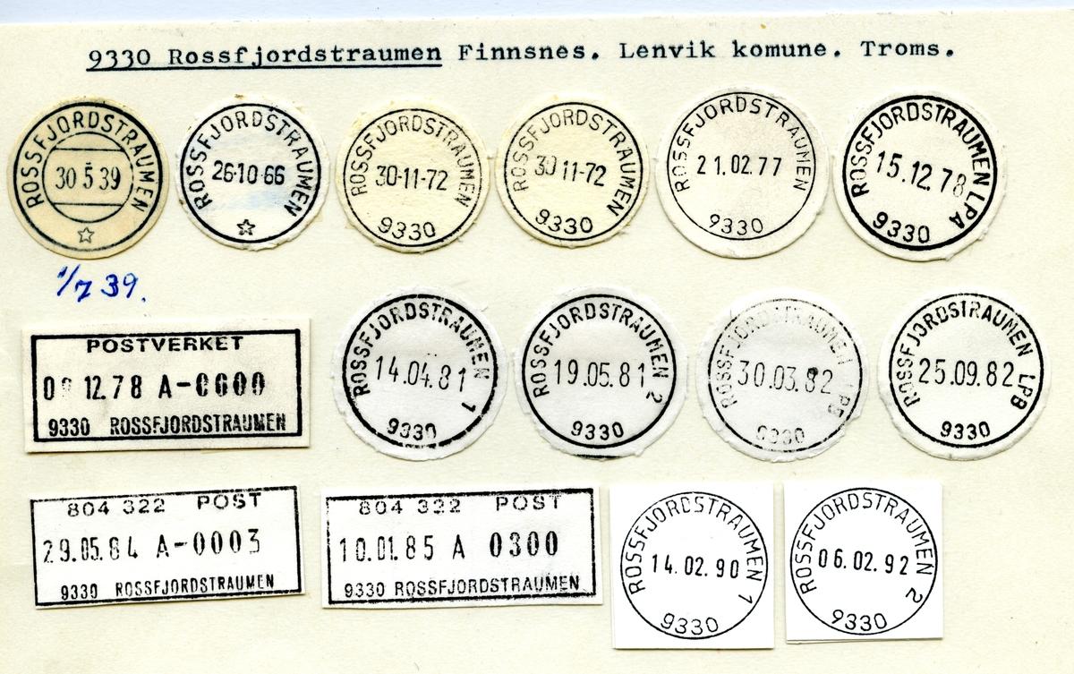 Stempelkatalog 9330 Rossfjordstraumen, Lenvik, Troms