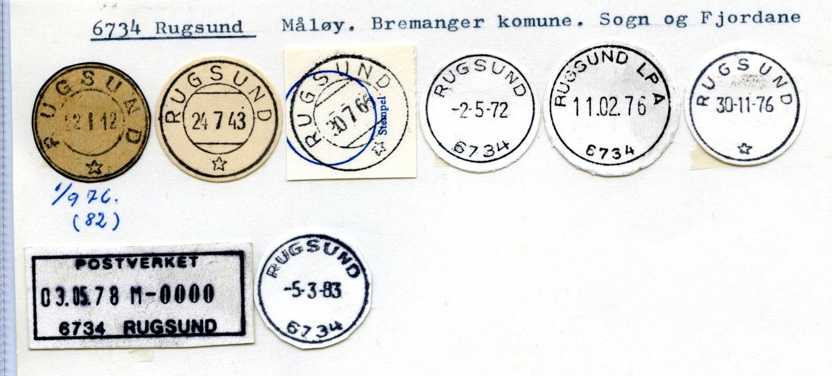 Stempelkatalog 6734 Rugsund, Bremanger, Sogn og Fjordane
