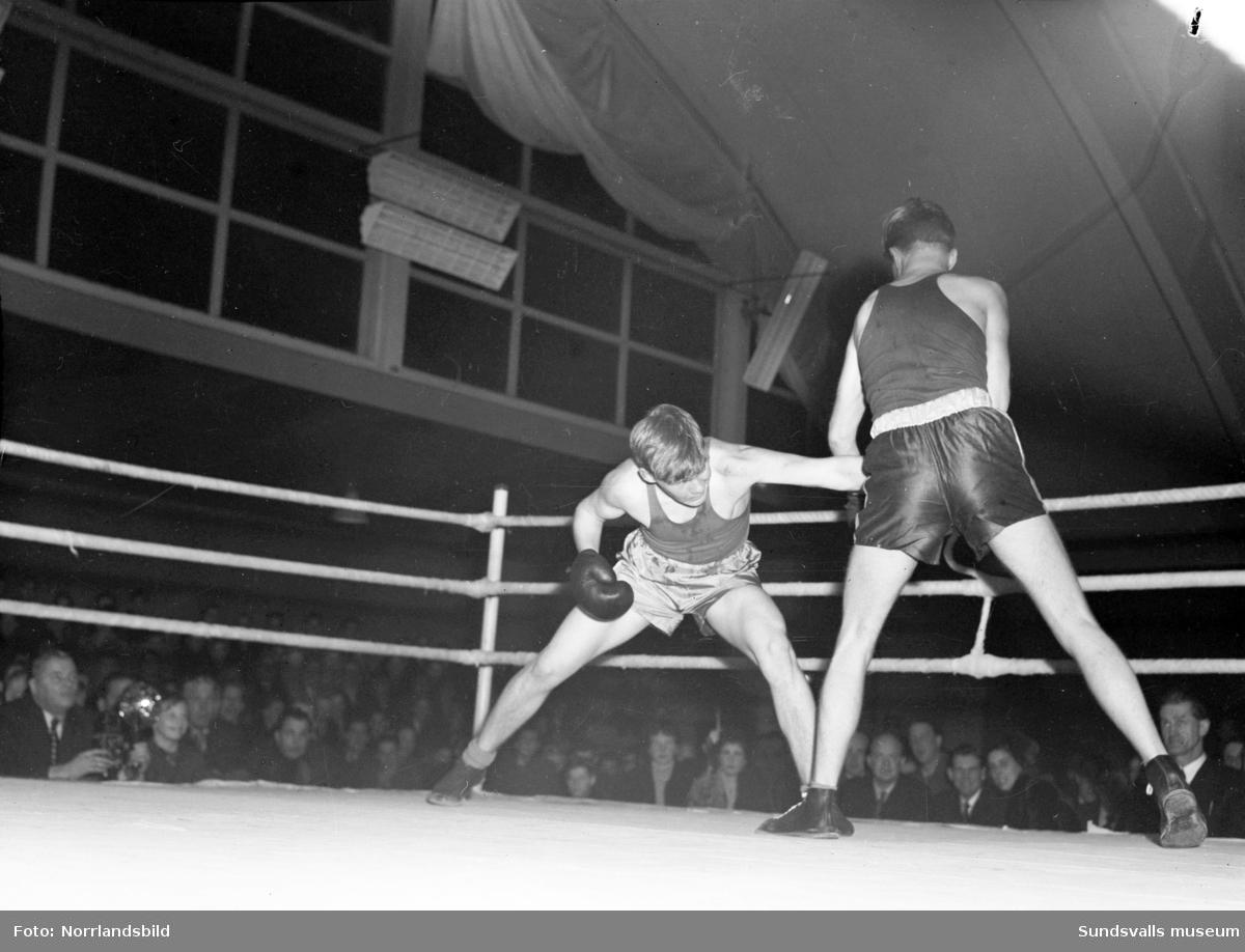 Nedre Norrlands juniormästerskap i boxning i tennishallen.