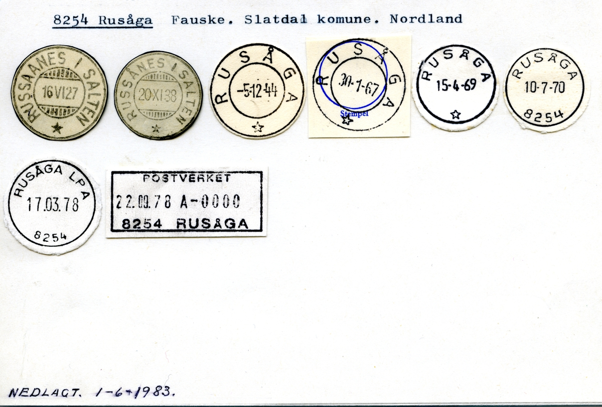 Stempelkatalog 8254 Rusåga (Russaanes i Salten, Russånes i Salten), Slatdal, Nordland