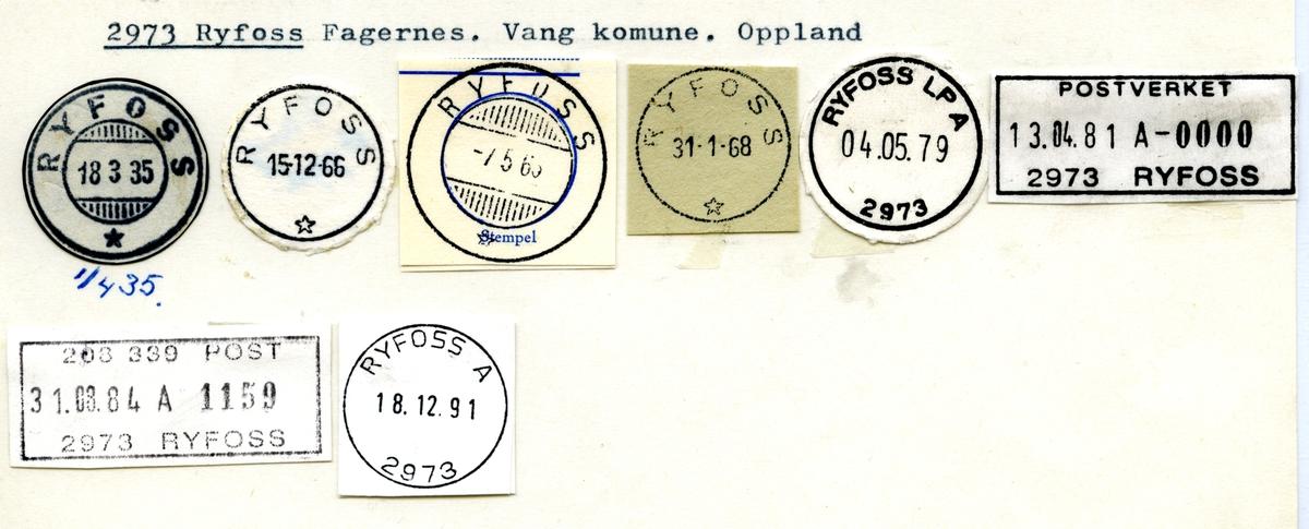 Stempelkatalog 2973 Ryfoss, Vang, Oppland