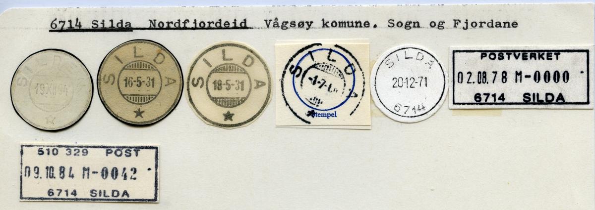 Stempelkatalog  6714 Silda, Vågsøy kommune, Sogn og Fjordane