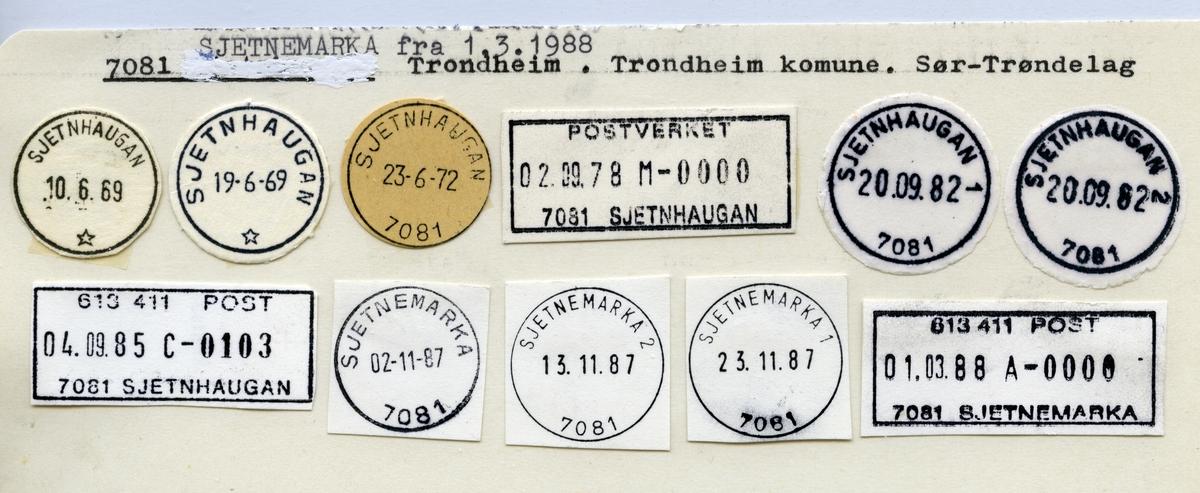 Stempelkatalog  7081 Sjetnemarka, Trondheim kommune, Sør-Trøndelag (Sjetnhaugan til 1988)