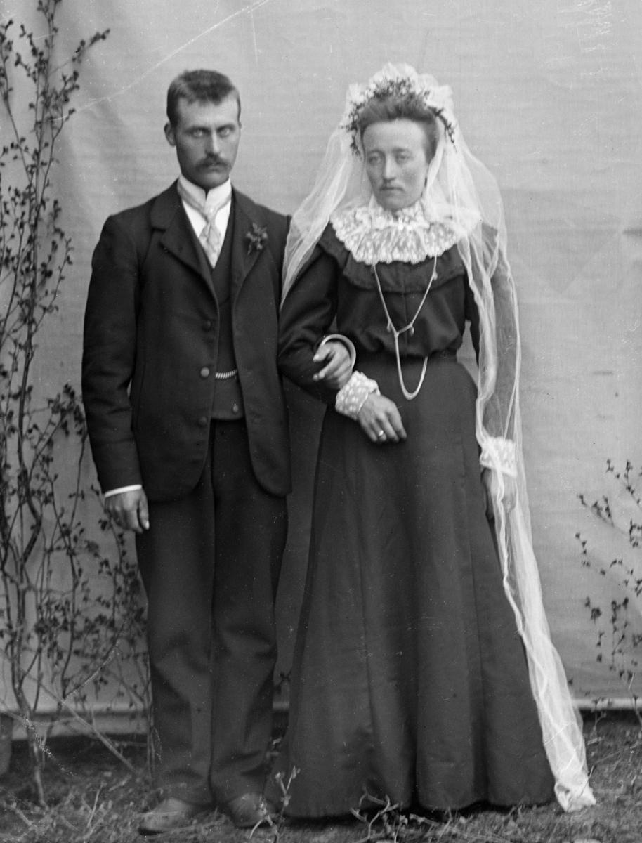 Brudepar. Brudgom i dress, bruden i mørk kjole, hvit krage, blomster i håret og hvitt slør. Lerret og bjørkekvister som bakgrunn