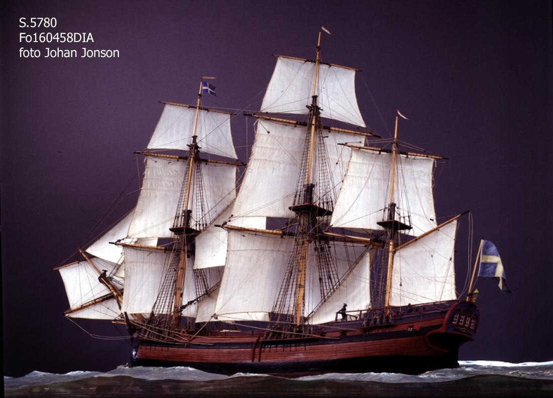 6 sjömän (av bly) på däck. Monterad på sjöplatta av skulpterat trä.