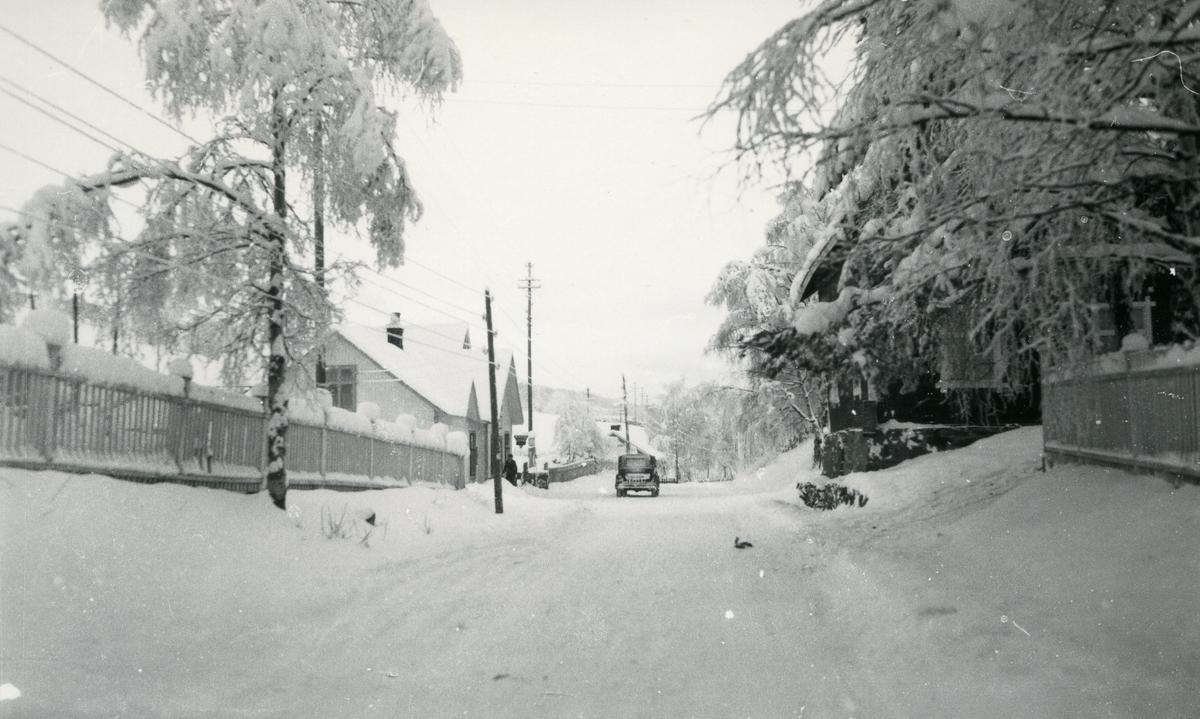 Gjerder og hus langs snødekt vei med bil. Volden, Vestre Sllidre