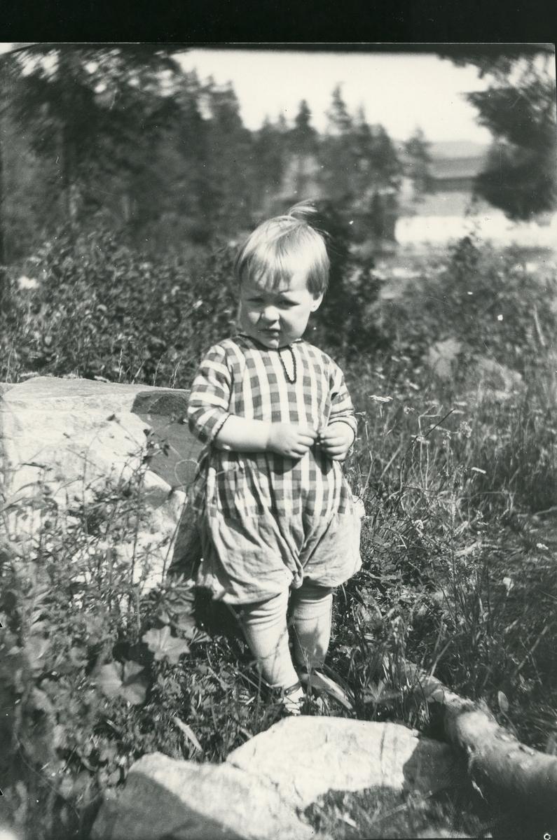 Liten gutt i gress ved stein. Nils Neste