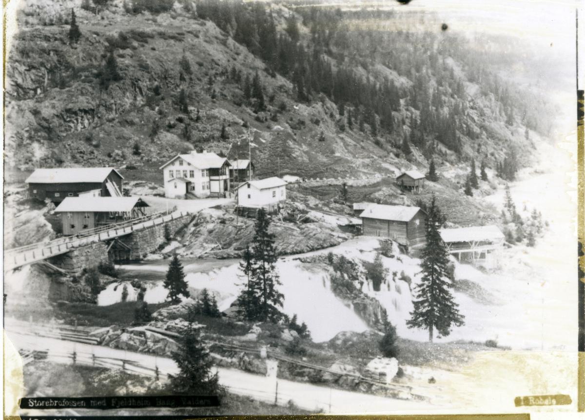 Storebrufossen og Fjellheim i Bagn. Bygningar og småindustri langs elva