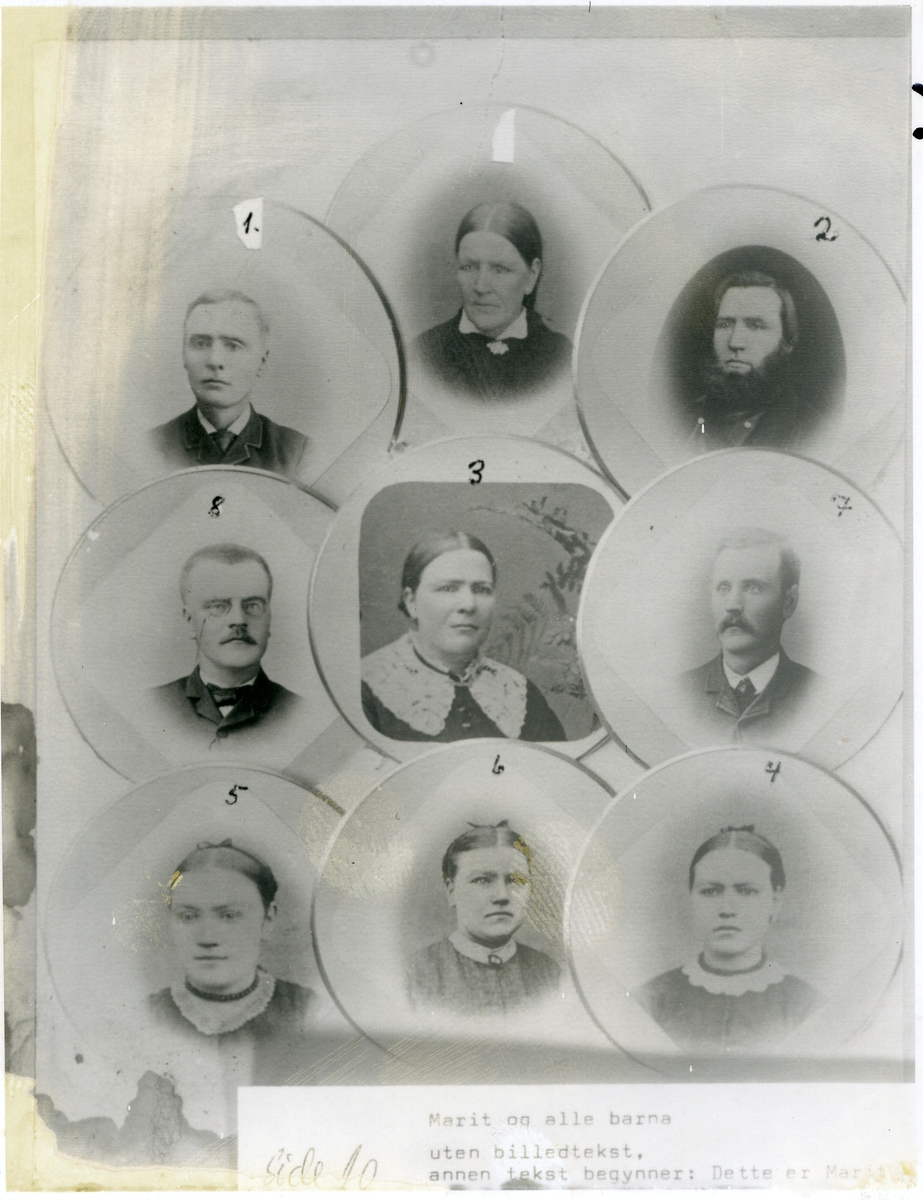 Numererte brystbilete av Marit Torsteinsdotter Kjøs (øverst i midten) og alle borna hennar.