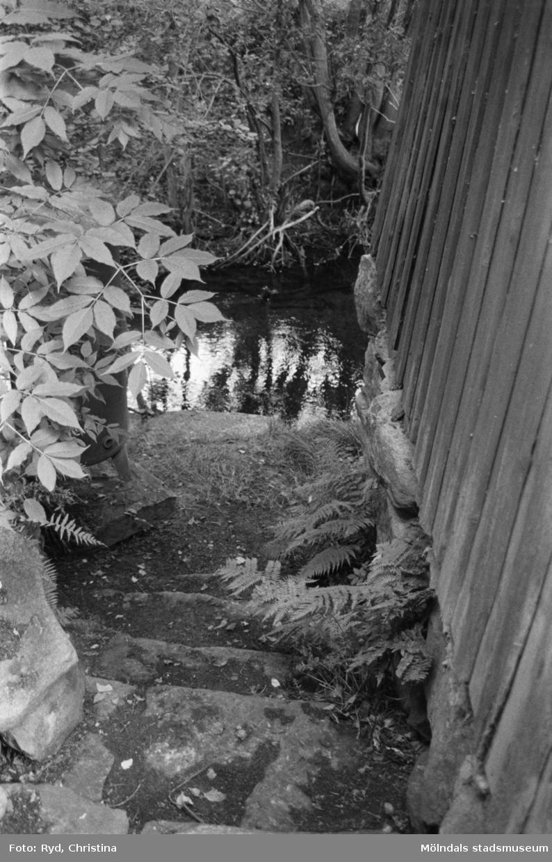 """""""Bösteställe"""" (tvättplats) vid ån, Lilla Tors i Hällesåker, 1991."""