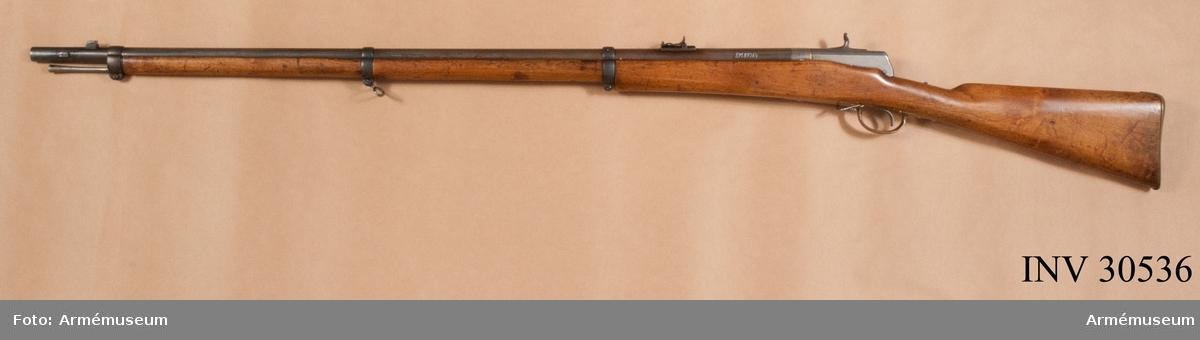 Grupp E II f. Tändnålsgevär fm/1866, system Hagström. Kaliber 12,6 mm (12,17 mm?). Märkt Norsk Frivillige skarpskytte Corps.