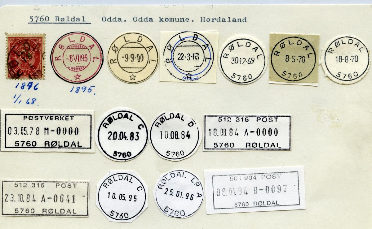 Stempelkatalog 5760 Røldal,  Odda, Hordaland