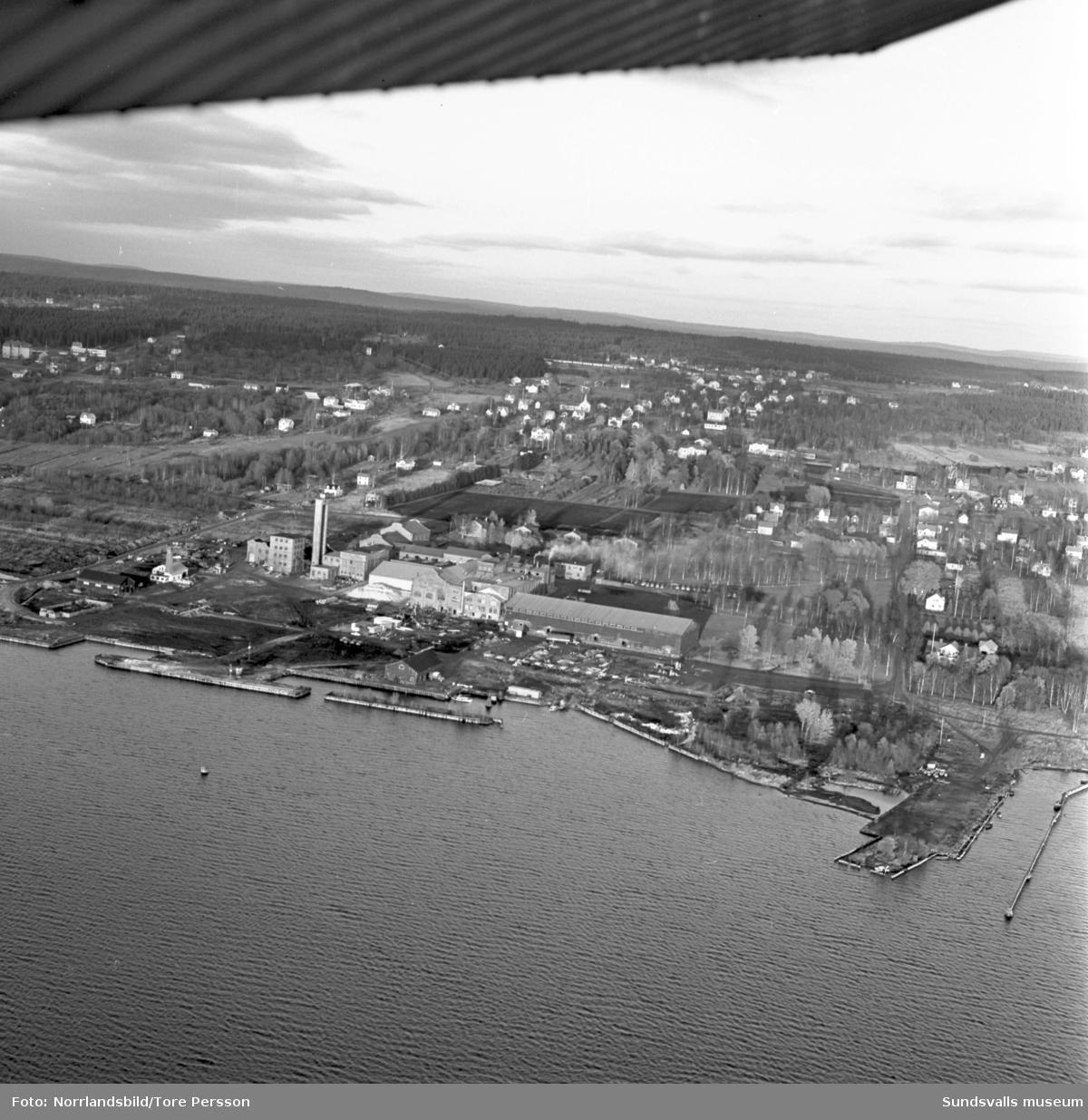 Flygfoton över Söråker med  fokus på Gullhögens Mineralull AB.