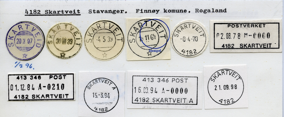 Stempelkatalog  4182 Skartveit, Finnøy kommune, Rogaland