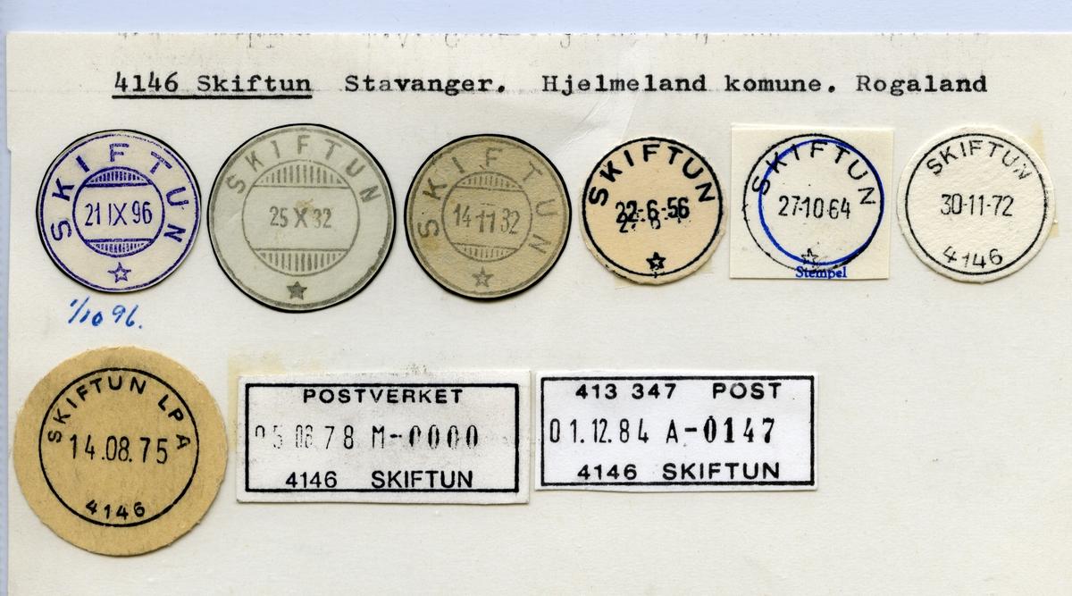 Stempelkatalog  4146 Skiftun, Hjelmeland kommune, Rogaland