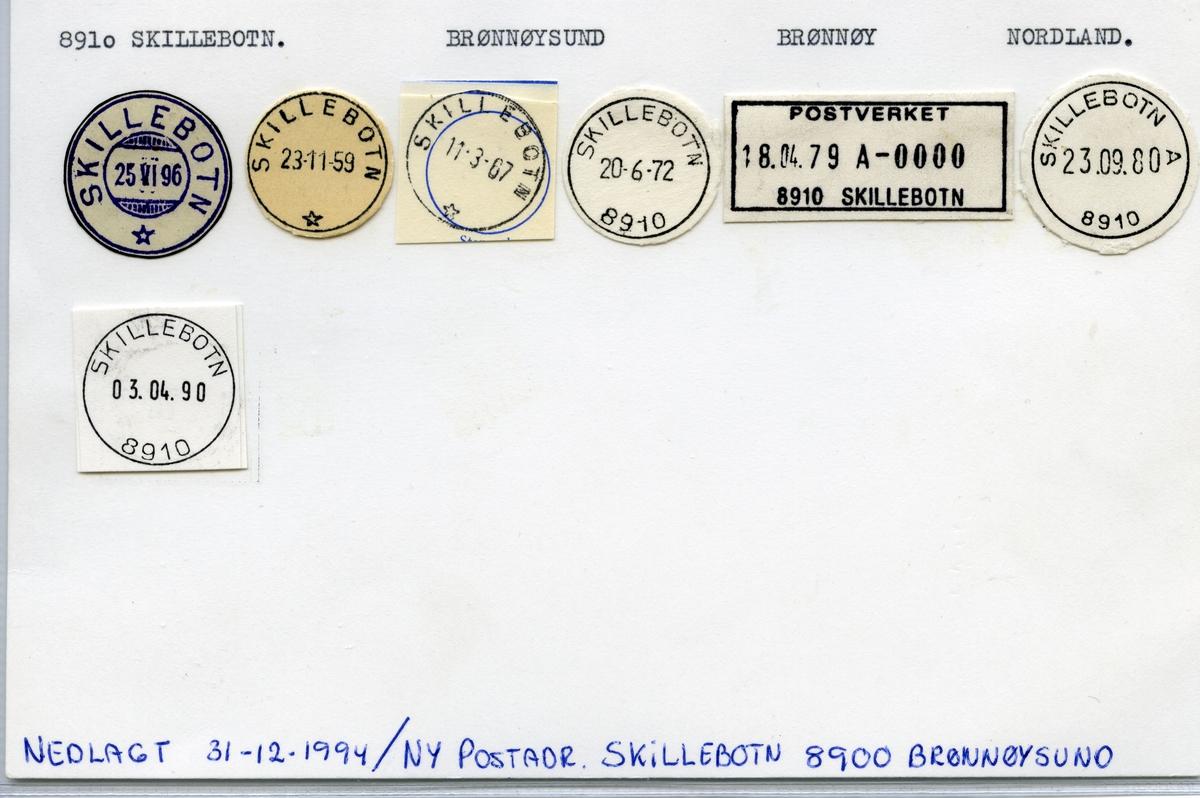 Stempelkatalog  8910 Skillebotn, Brønnøy kommune, Nordland