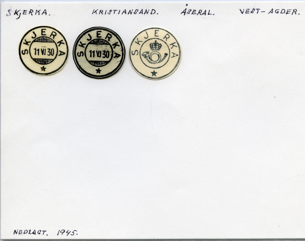 Stempelkatalog  Skjerka, Åseral kommune,  Vest-Agder