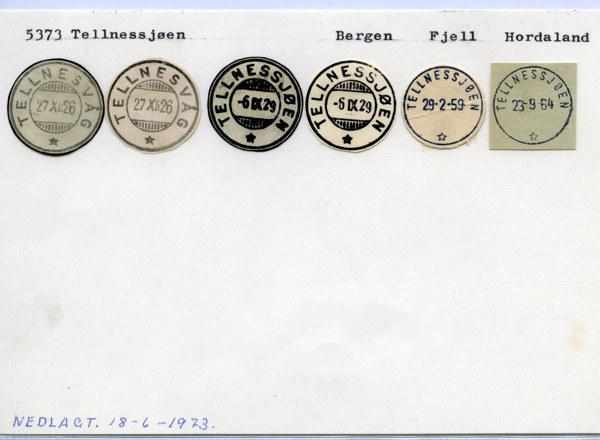 Stempelkatalog 5373 Tellnessjøen, Bergen, Fjell, Hordaland