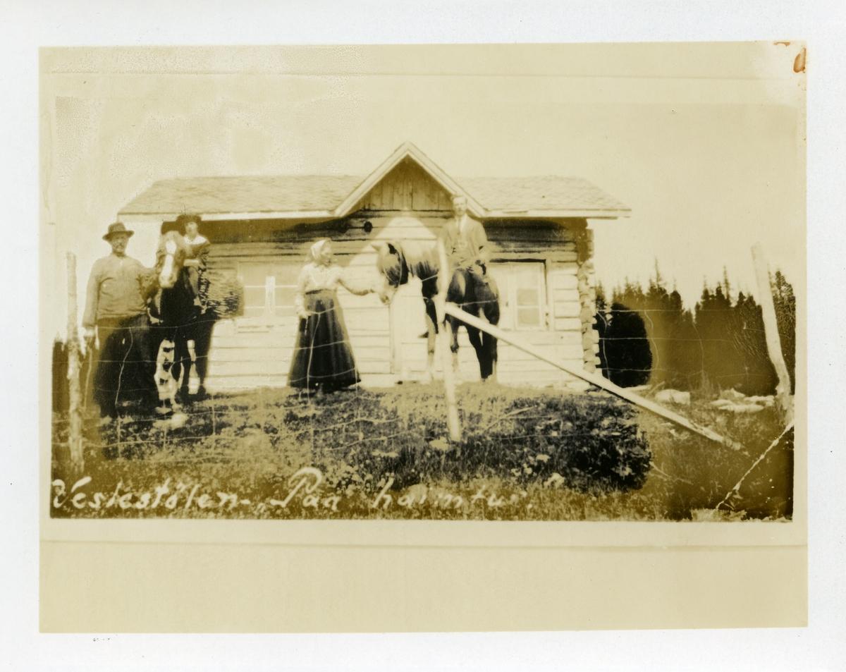 Kvinne og mann sittende på hest, kvinne og mann stående ved siden av, foran selet på Veslestølen. Dette er heimstølen til garden Bjørgan på Bjørgo, Nord-Aurdal