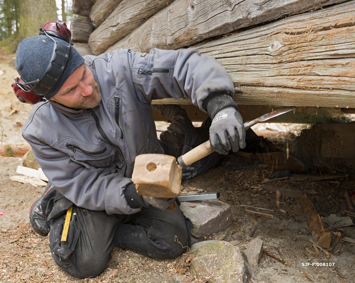 Tilpassingsarbeid for innsetting av ny svillstokk i den nordre langveggen på Breisjønaustet i Norsk Skogmuseums friluftsmuseum på Prestøya i Elverum(SJF-B.0011).  Arbeidet ble utført som et kurstilbud for vedlikeholdspersonale ved avdelingene i Anno museum.  På dette fotografiet ser vi kursdeltaker Bjørn Erik Hansen fra Glomdalsmuseet, som ved hjelp av et hoggjern og ei treklubbe former medfaret på undersida av den stokken som skal ligge over den nye svillen.  Før denne arbeidsoperasjonen kunne igangsettes hadde tømrerne meddratt andrestokken med den nye svillstokken i noenlunde riktig posisjon (jfr. SJF-F.008100 – SJF-F.008102).  Poenget med den hulkilen meddraget er, er å få stokkene til å slutte tett sammen.  I praksis betyr dette at eventuelle kuvinger i underliggende stokks lengderetning må speiles i faret på undersida av overliggende stokk.